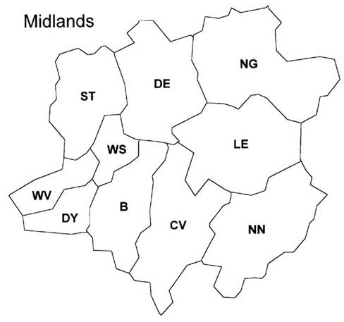 British Postal Area Map - Midlands