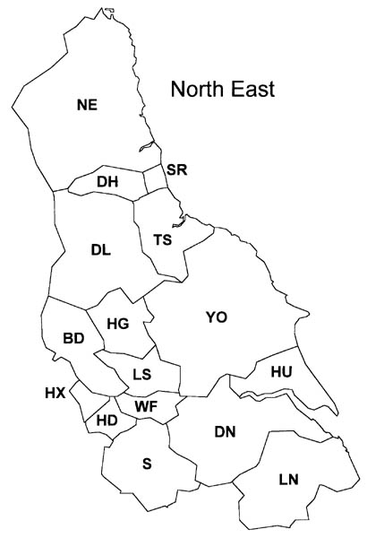 British Postal Area Map - North East